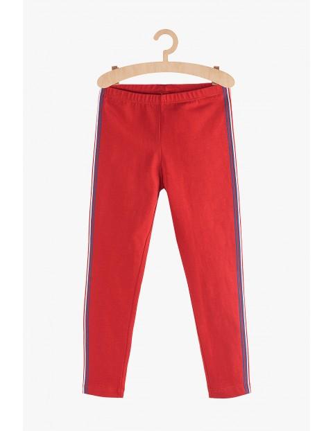 Leginsy dla dziewczynki- czerwone z lampasami