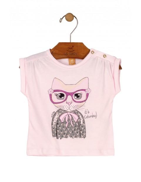T-Shirt niemowlęcy różowy z kotkiem