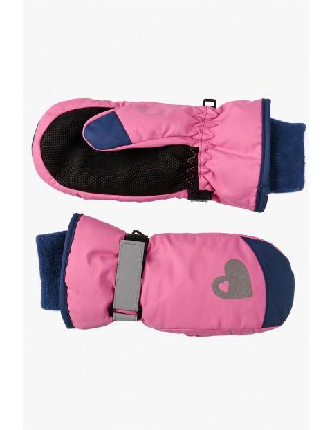 Ciepłe narciarskie rękawicze dla dziewczynki- różowe