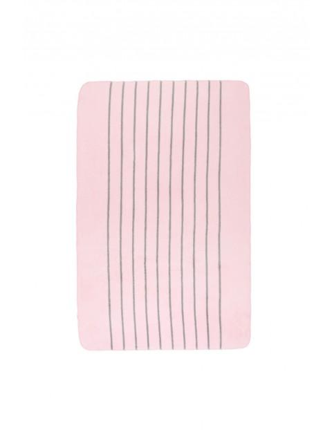 Koc bawełniany różowy w szare paski 100 x 150 cm