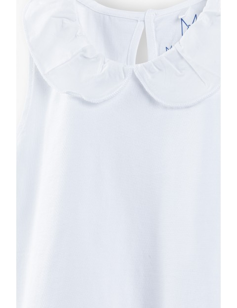 Bluzka dziewczęca -  biała z ozdobnym dołem