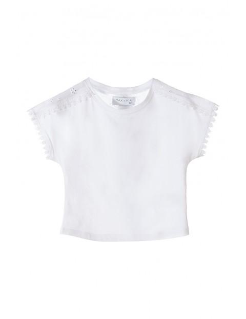 Koszulka dziewczęca z krótkim rękawem-biała