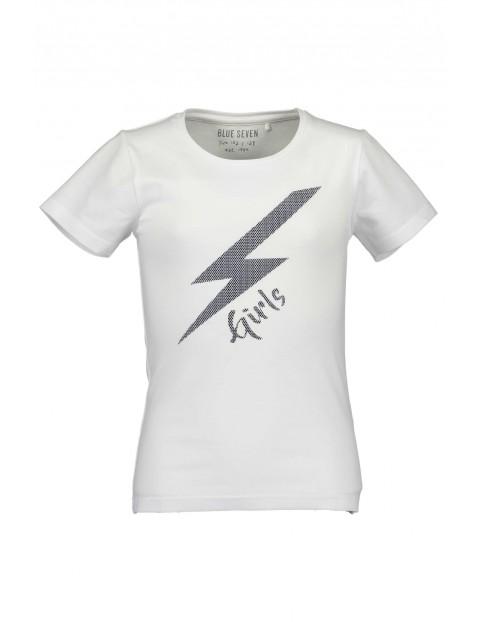 T-Shirt dziewczęcy biały z błyskawicą