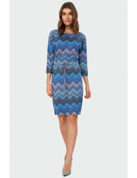 Sukienka damska z geometrycznym nadrukiem niebieska