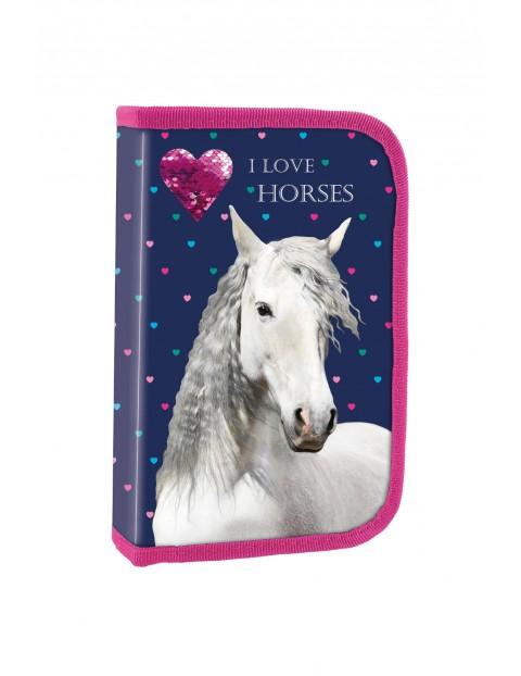 Piórnik dziewczęcy jednokomorowy Konie