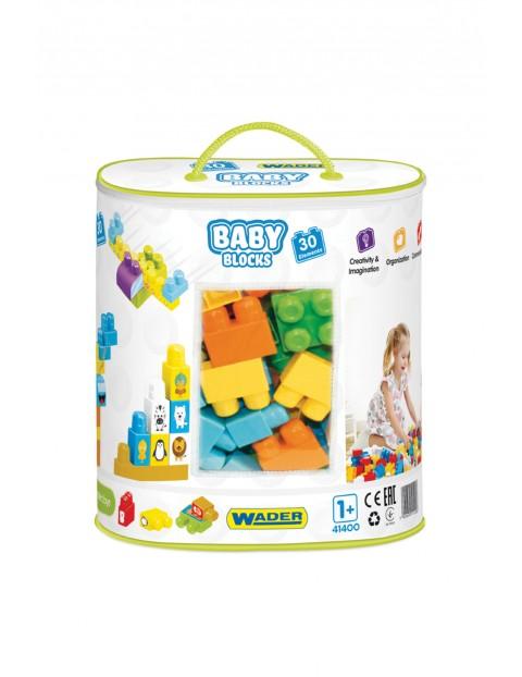 Klocki dla dzieci Baby Blocks - torba 30el Wader 12msc+