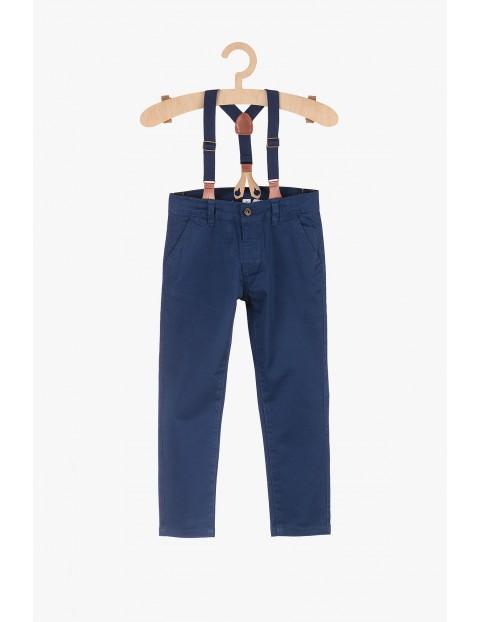 Spodnie chłopięce z odpinanymi szelkami-granatowe