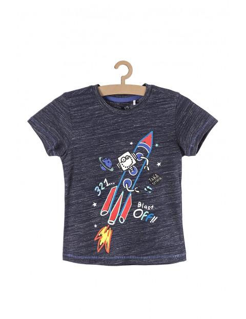 Koszulka chłopięca- granatowa z rakietą