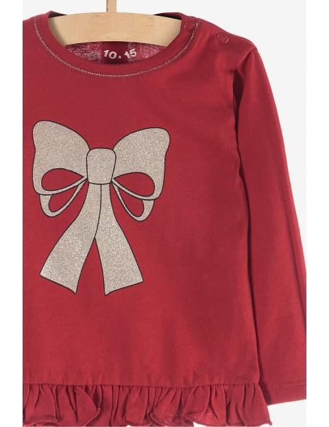 Bluzka dziewczęca -czerwona z kokardką
