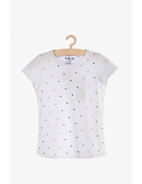 T-shirt dziewczęcy w kolorowe cekinowe kropki