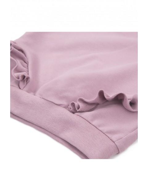 Bawełniana bluza z falbankami - wrzosowy