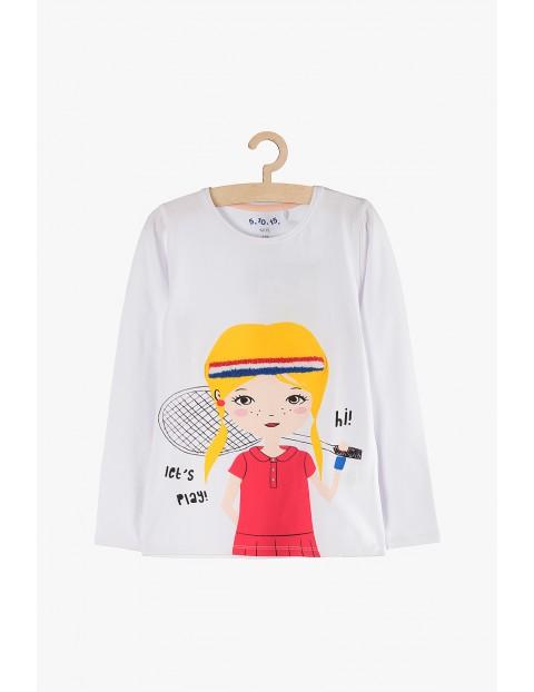 Bluzka dla dziewczynki- biała z kolorowymi nadrukami