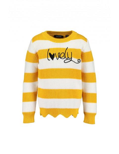 Sweter dziewczęcy żółto- białe paski