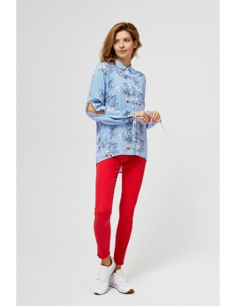 Długa koszula z kwiatowym motywem- niebieska