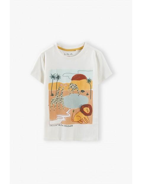 T-shirt chłopięcy w kolorze ecri z nadrukiem Safai