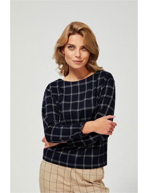 Granatowa bluza damska w ozdobioną delikatną kratkę