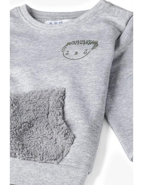 Bluza dresowa niemowlęca z kieszonką - szara