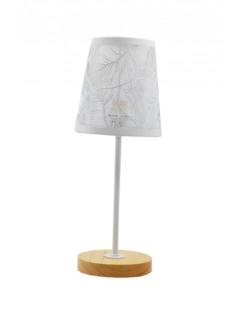 Lampa stołowa z metalowym ażurowym kloszem