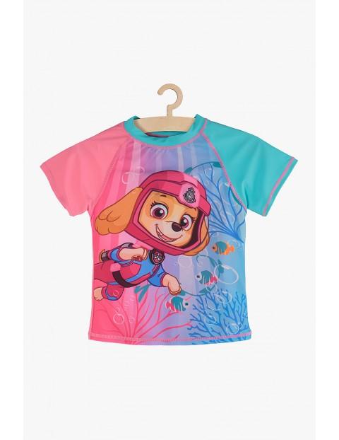 T-Shirt kąpielowy dla dziewczynki Psi Patrol różowo-niebieski