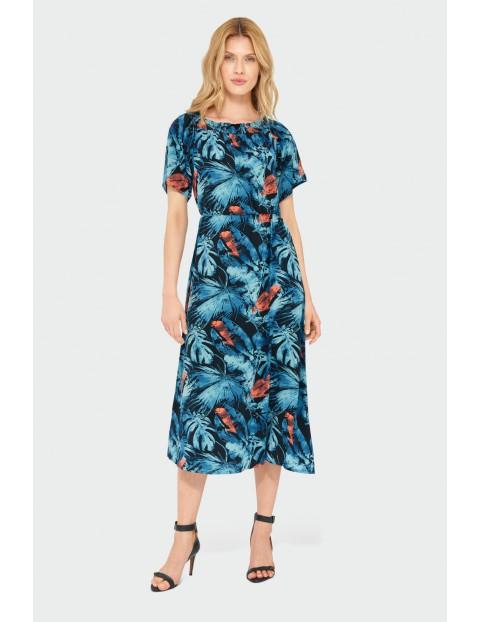 Wiskozowa sukienka z roślinnym nadrukiem - hiszpanka
