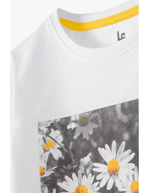 Bawełniany T- shirt dziewczęcy biały z nadrukiem z przodu- 100% bawełna