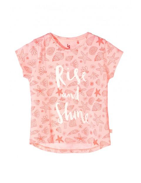 Koszulka dziewczęca różowa w muszelki