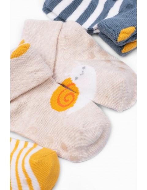 Skarpetki niemowlęce w paski- antypoślizgowe - 3 pak