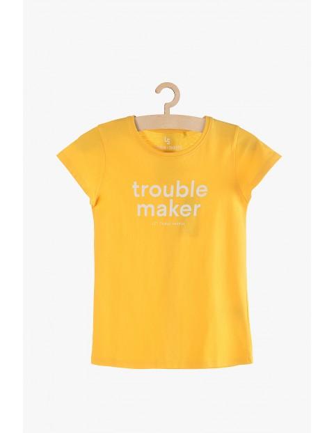 T-Shirt dziewczęcy żółty z napisem Trouble maker
