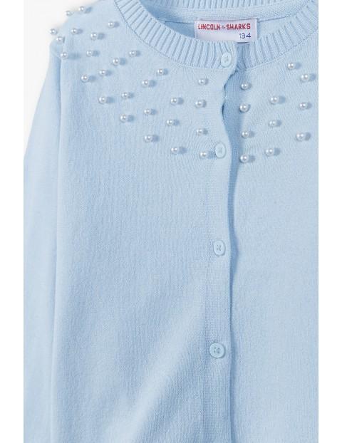 Sweterek dziewczęcy zapinany na guziki - niebieski z perełkami