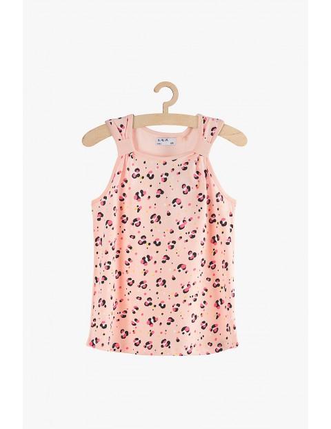 Bluzka dziewczęca na ramiączka- różowa panterka