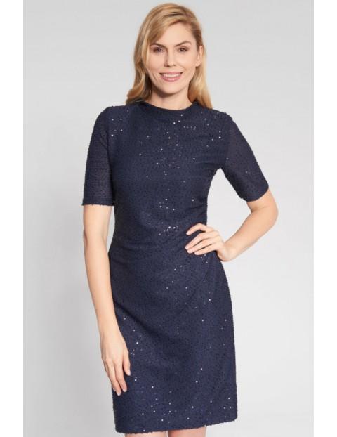 Granatowa sukienka z błyskiem