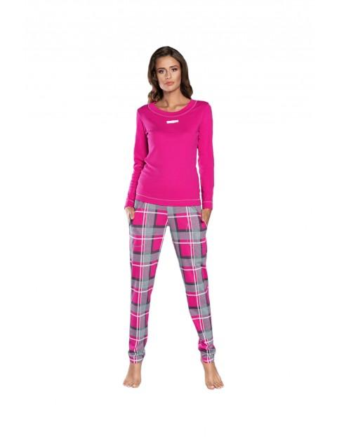 Piżama damska na długi rękaw - długie spodnie w kratkę  - różowa