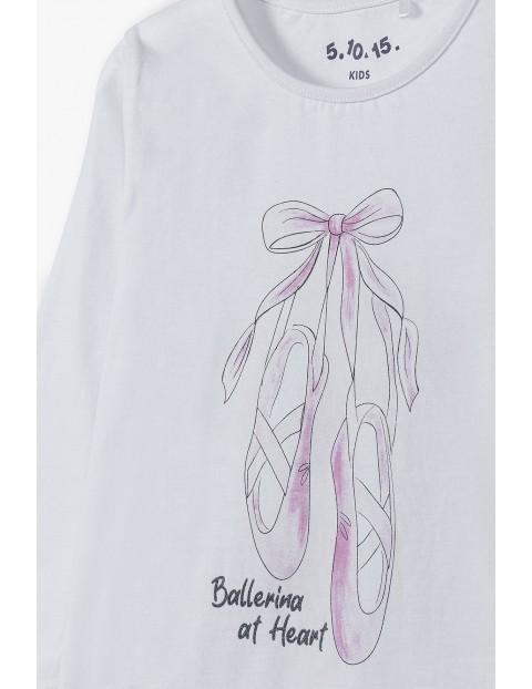 Bawełniana biała bluzka dziewczęca Balerina