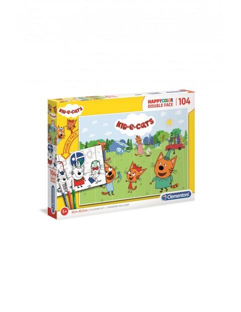 Puzzle happy color Kotki Clementoni-104 elementy wiek 5+