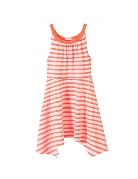 Asymetryczna, letnia sukienka w paski dla dziewczynki