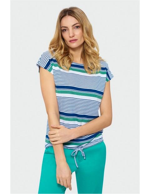 Damski t-shirt z krótkim rękawem w paski
