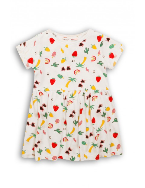 Sukienka niemowlęca biała w wakacyjny wzór