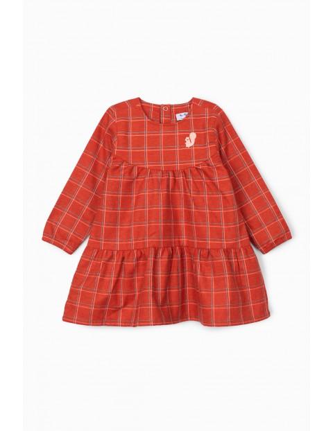 Dzianinowa sukienka niemowlęca - pomarańczowa w kratkę