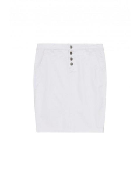 Spódnica damska ołówkowa z ozdobnymi guzikami biała