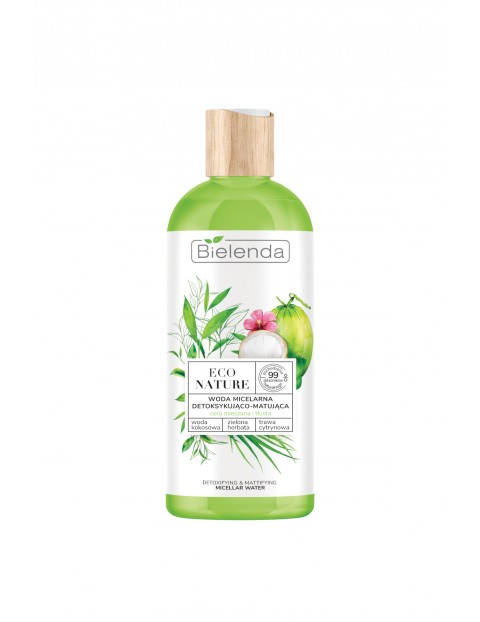 ECO NATURE - Woda kokosowa + Zielona Herbata + Trawa Cytrynowa - woda micelarna do oczyszczania i demakijażu detoksykująco-matująca 500 ml