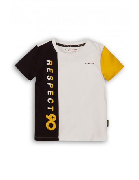 T-Shirt chłopięcy biało-czarny z napisem Respect