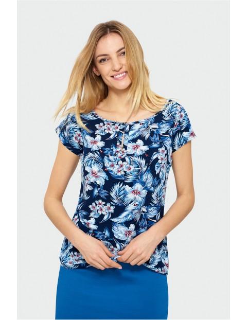 Granatowa bluzka w kwiaty- ubrania dla kobiet