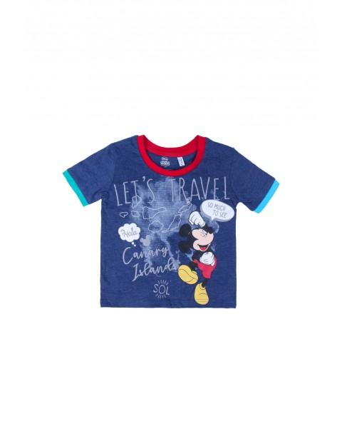 T-shirt dziecięcy z nadrukiem Mickey- granatowa