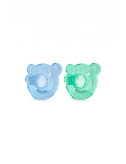 Smoczek uspokajający soothie Avent niebieski i zielony  3msc+ 2szt