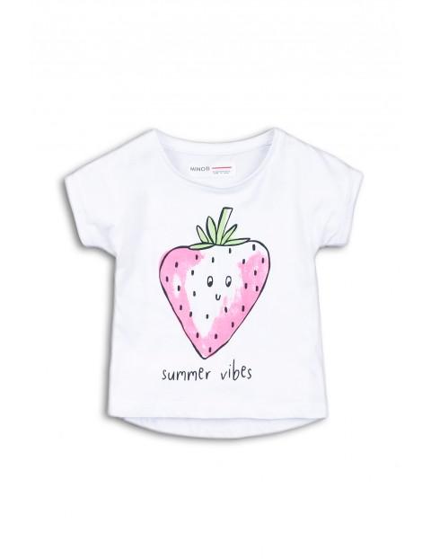 T-shirt dziewczęcy biały z truskawką