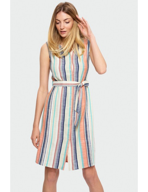 Sukienka na lato- bez rękawów z paskiem w talii