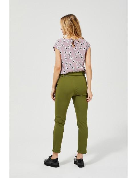 Spodnie damskie typu cygaretki - oliwkowe