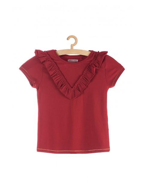 Koszulka dziewczęca czerwona z falbanką