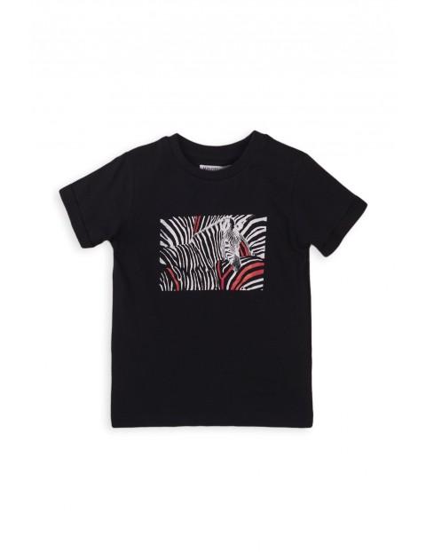 T-shirt chłopięcy bawełniany z zebrą