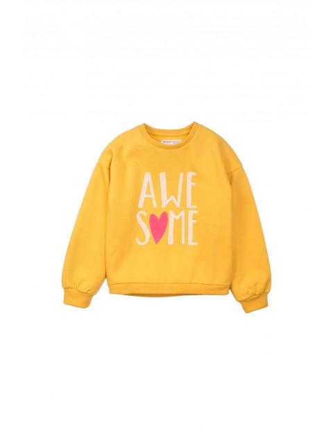 Bluza dresowa dziewczęca żółta